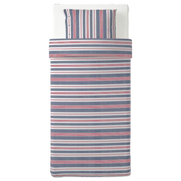 SMALSTÄKRA Funda nórd e funda para almofada, azul/vermello/raias, 150x200/50x60 cm