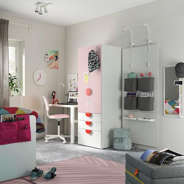 SMÅSTAD Armario, branco rosa claro/con 3 caixóns, 60x57x181 cm