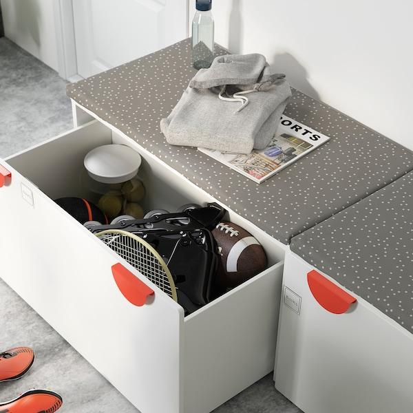 SMÅSTAD Banco con almacenaxe xoguetes, branco/branco, 90x52x48 cm