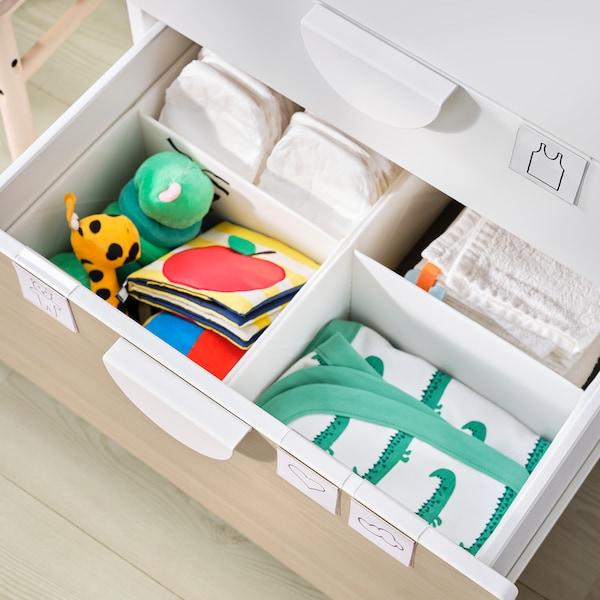 SMÅSTAD Cambiador, branco bidueiro/con 3 caixóns, 90x79x100 cm
