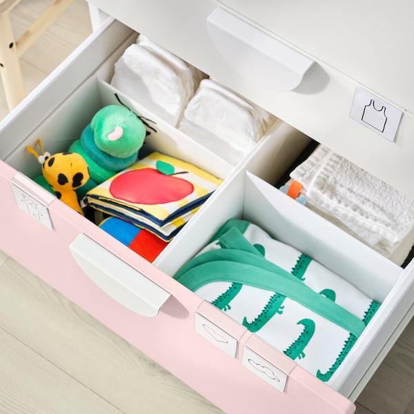 SMÅSTAD Cambiador, branco rosa claro/con 3 caixóns, 90x79x100 cm