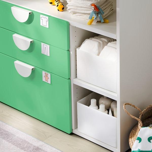 SMÅSTAD Cambiador, branco verde/con 3 caixóns, 90x79x100 cm