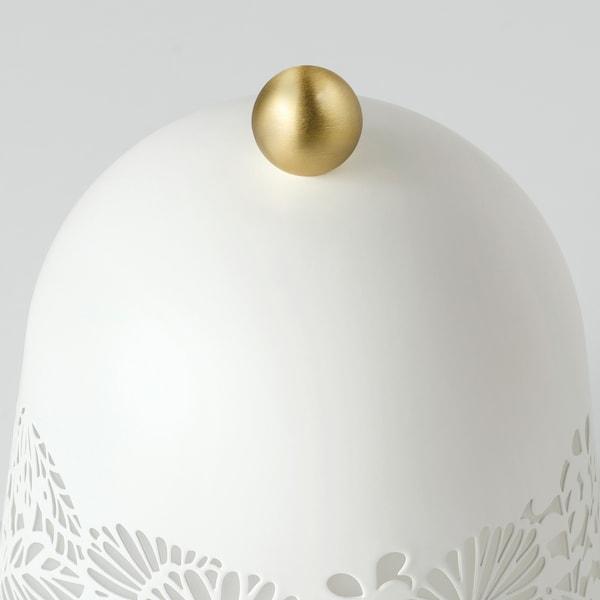 SOLSKUR Lámpada mesa, branco/cor bronce
