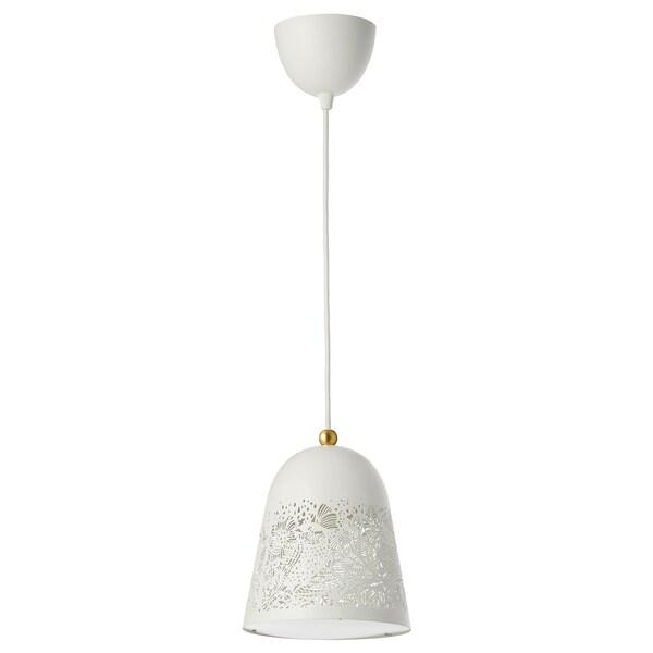 SOLSKUR Lámpada de teito, branco/cor bronce