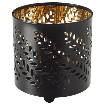 STABBIG Adorno candea en vaso, negro, 8 cm