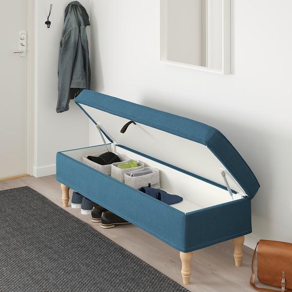 STOCKSUND Banco, Ljungen azul/marrón claro/madeira