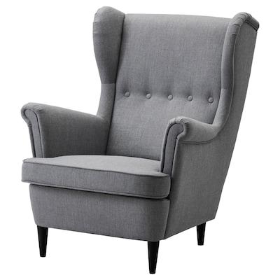 STRANDMON Cadeira de brazos con orelleiras, Nordvalla gris escuro