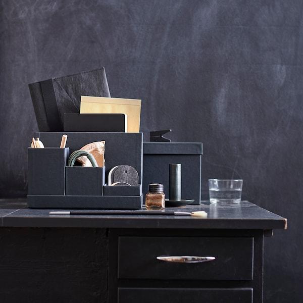TJENA Organizador escritorio, negro, 18x17 cm