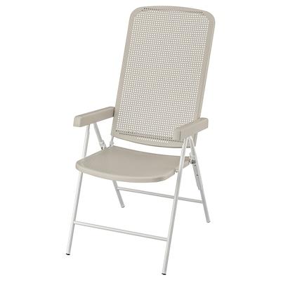 TORPARÖ Cadeira de xardín reclinábel, branco/beixe