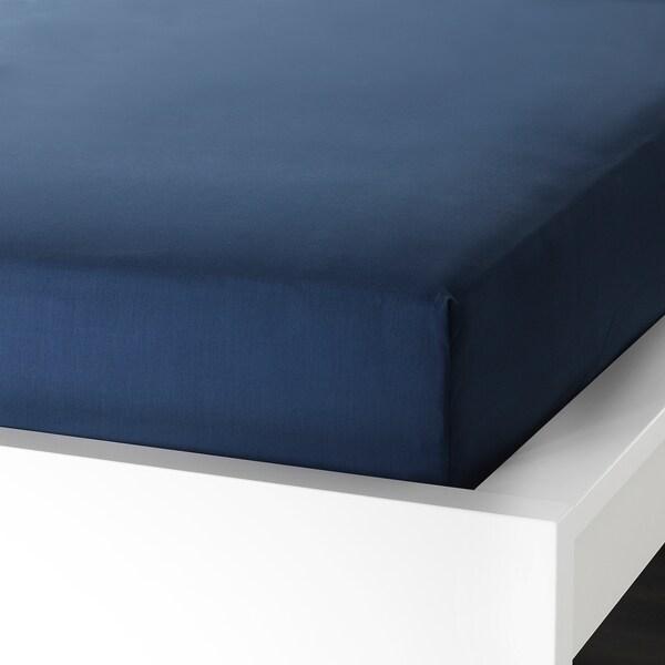 ULLVIDE Saba baixeira axustable, azul escuro, 90x200 cm