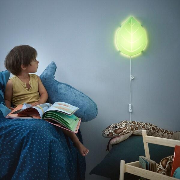 UPPLYST Lámpada parede, folla verde