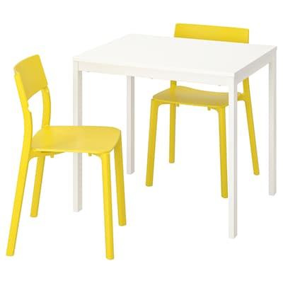 VANGSTA / JANINGE Mesa e dúas cadeiras, branco/amarelo, 80/120 cm