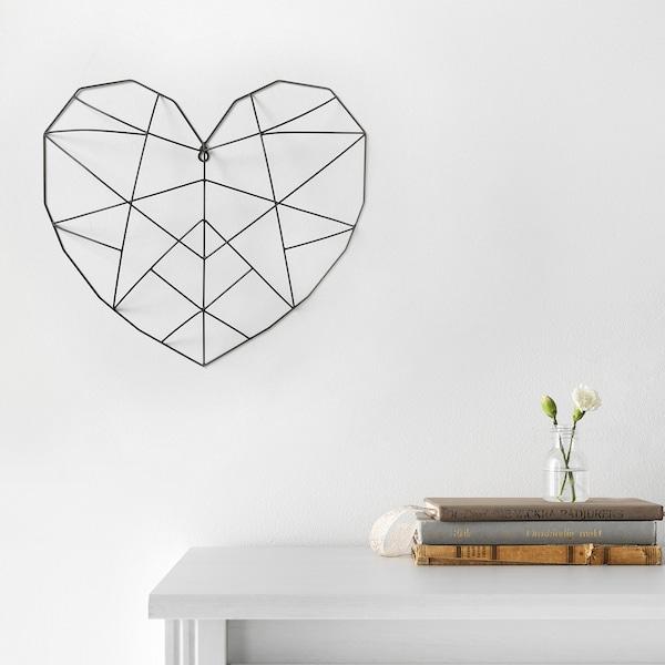 VÄTTLÖSA Decoración de parede, corazón negro, 44x40 cm