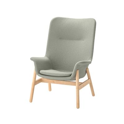 VEDBO Cadeira de brazos con respaldo alto, Gunnared verde claro