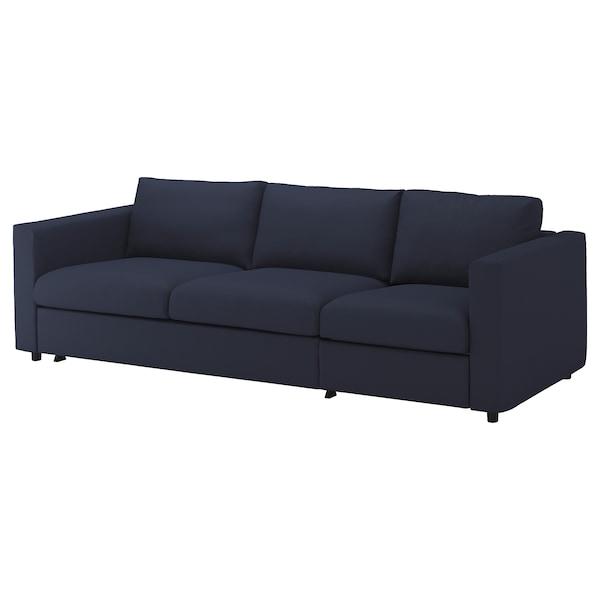VIMLE Sofá cama 3 prazas, Orrsta negro-azul