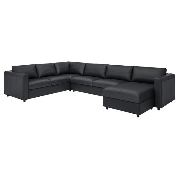VIMLE Sofá cama esquina 5, +chaiselongue/Grann/Bomstad negro