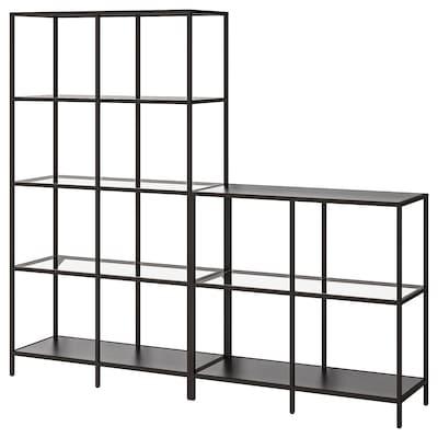 VITTSJÖ Combinación de armario e estante, negro-marrón/vidro, 200x36x175 cm