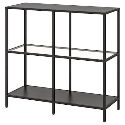 VITTSJÖ Estante, negro-marrón/vidro, 100x93 cm