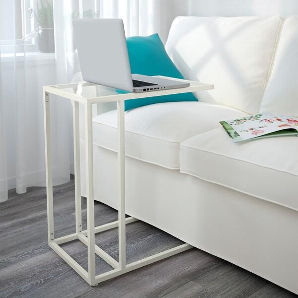 VITTSJÖ Soporte portátil, branco/vidro, 35x65 cm