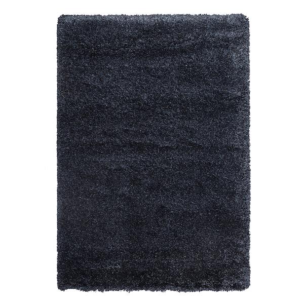 VOLLERSLEV Alfombra, pelo longo, azul escuro, 160x230 cm