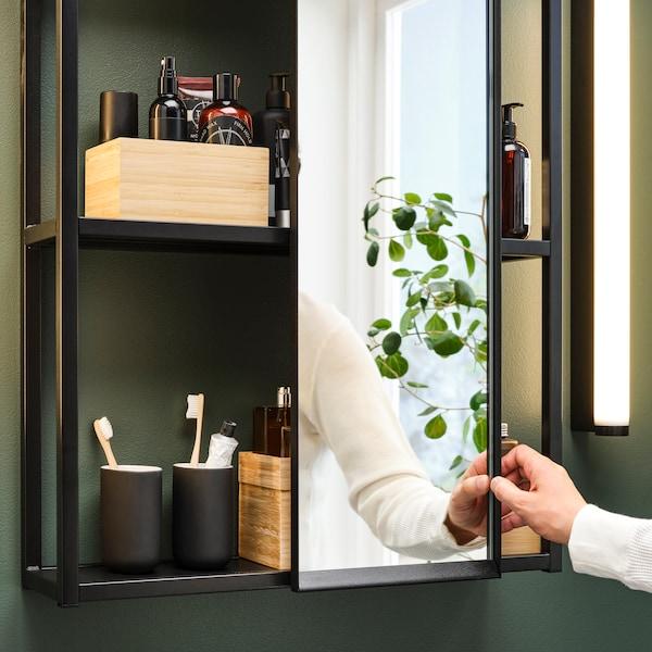 Badezimmerschrank in schwarz mit Spiegel