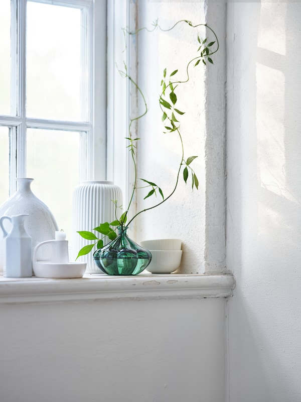 Various ornate vases in white on a window sill, and one vase in green with a single stemmed plant in it.