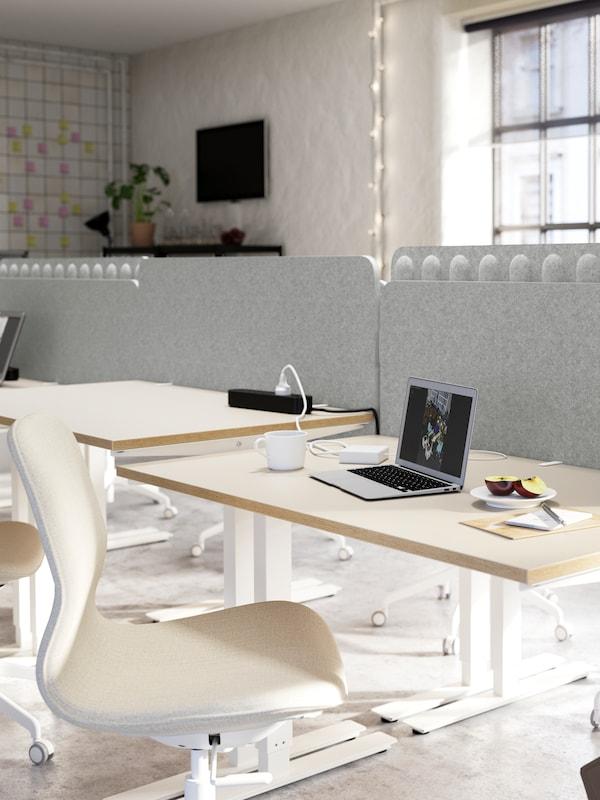 Gruppi di scrivanie bianche e sedie beige e bianche separate da schermi divisori per scrivania grigi - IKEA