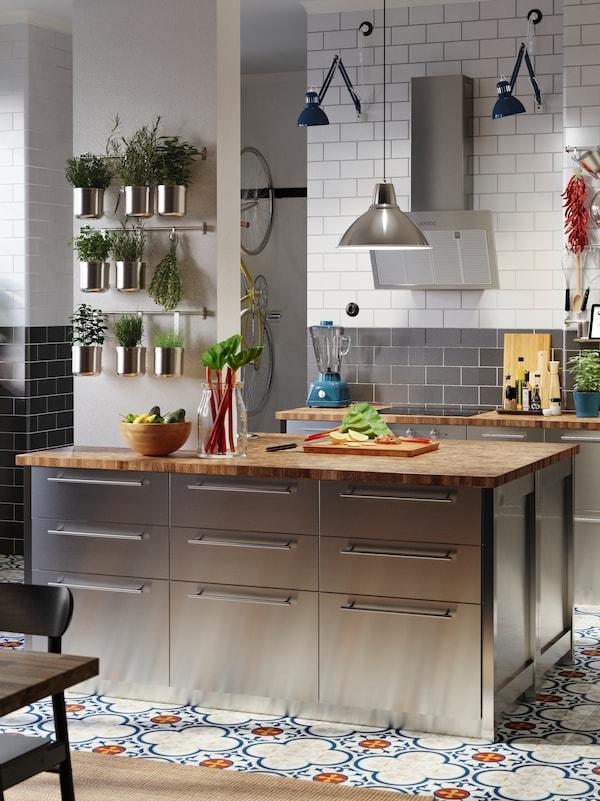 A kitchen with metal doors