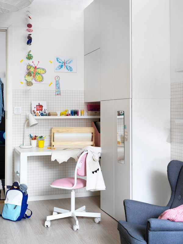 PÅHL Desk, white, 128x58 cm