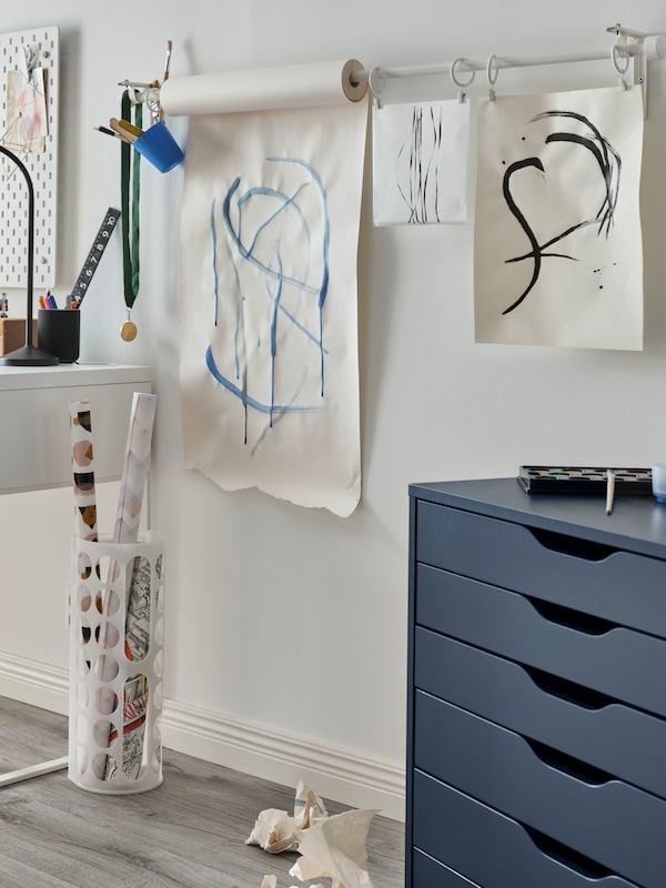 Paper roll drawn on hung up on a wall