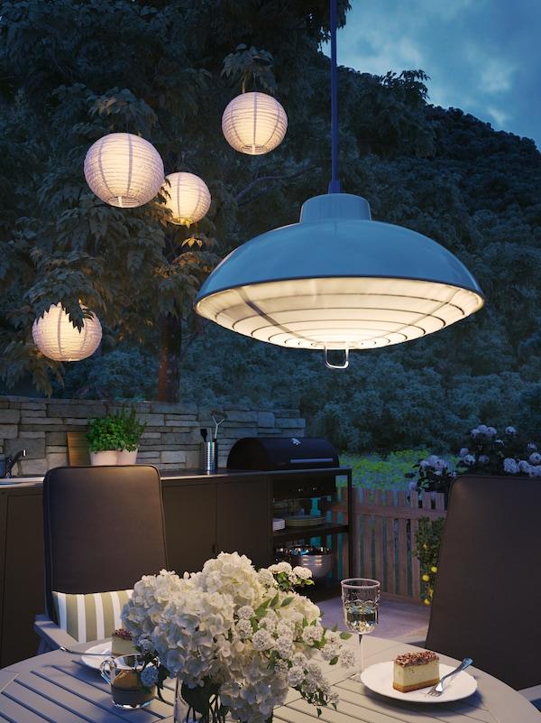 SOLVINDEN Lámpara techo solar LED, exterior/beige38 cm