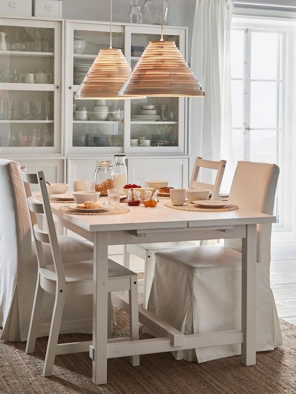 An IKEA NORDVIKEN extendable table.