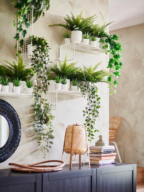Parete di foglie verdi artificiali con due piccole teche in vetro contenenti piante decorative in vaso.
