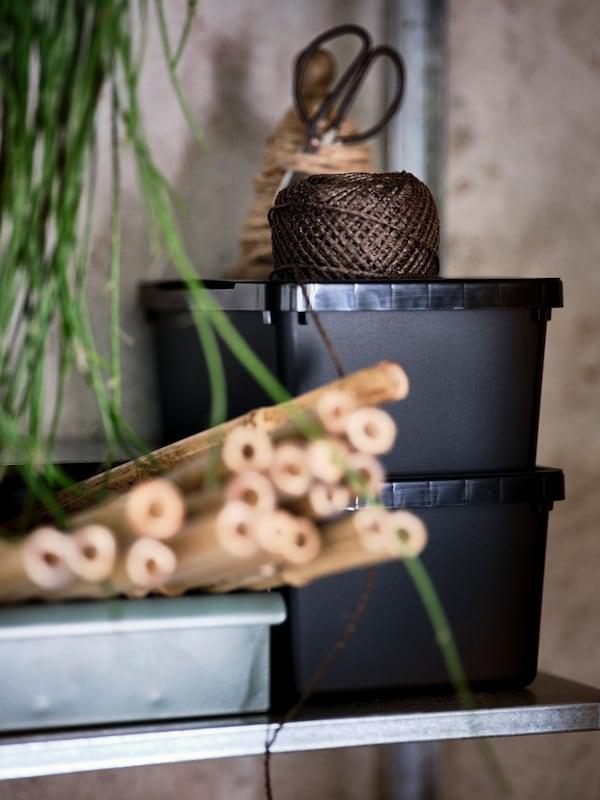 Polica na HYLLIS spojenim policama s dve crne UPPSNOFSAD kutije za odlaganje s kanapom na vrhu, i kutijom s komadima bambusa.