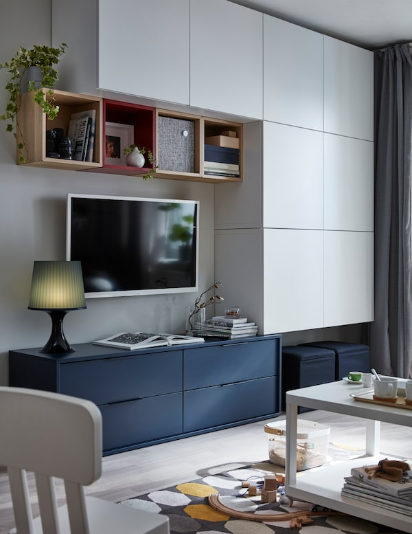 BESTÅ Regał/szklane drzwi, biały/Lappviken białe szkło przezroczyste