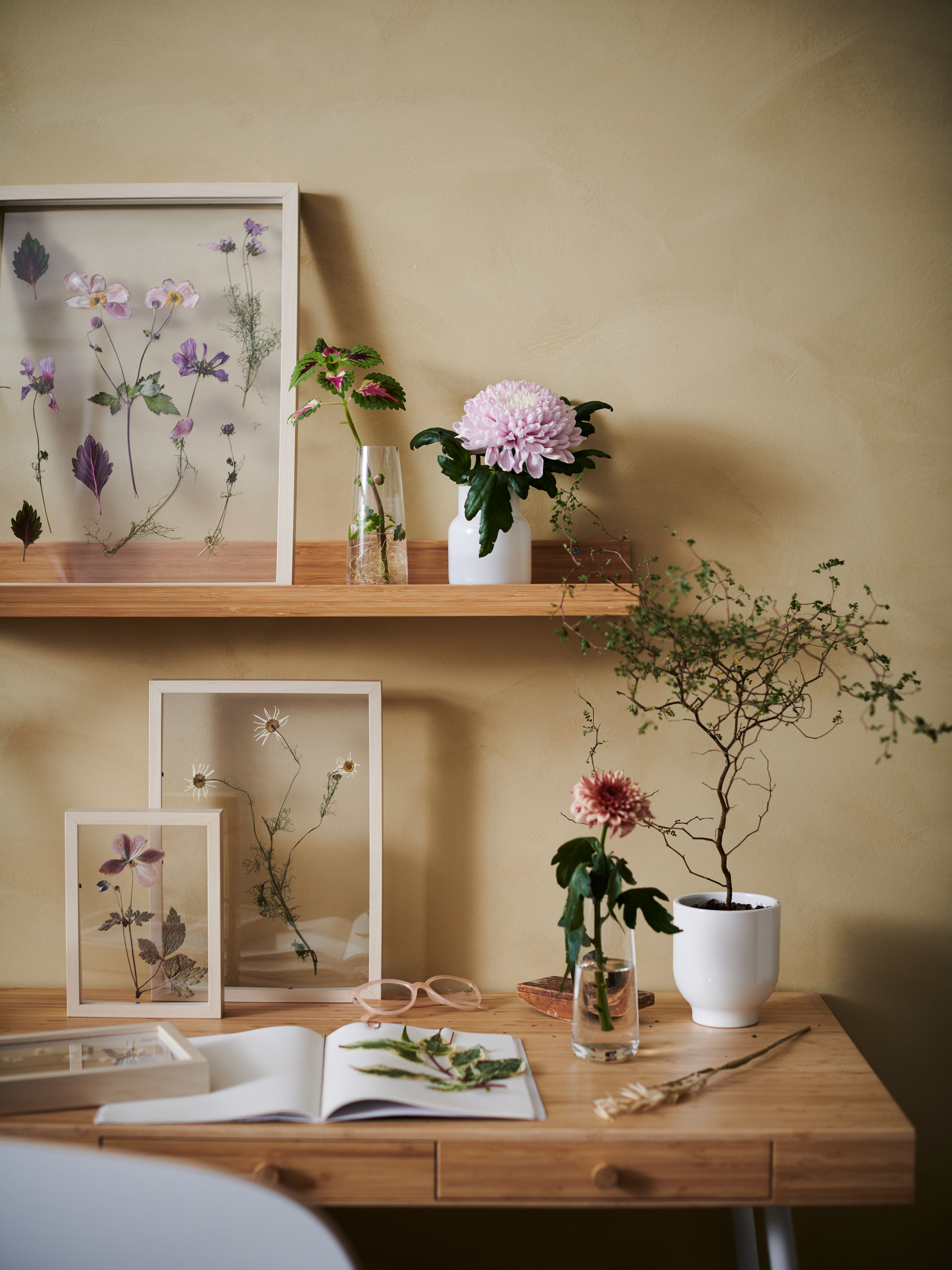 A potted plant and flowers in vases and frames fill a desk and a MÅLERÅS bamboo picture ledge on the wall above.