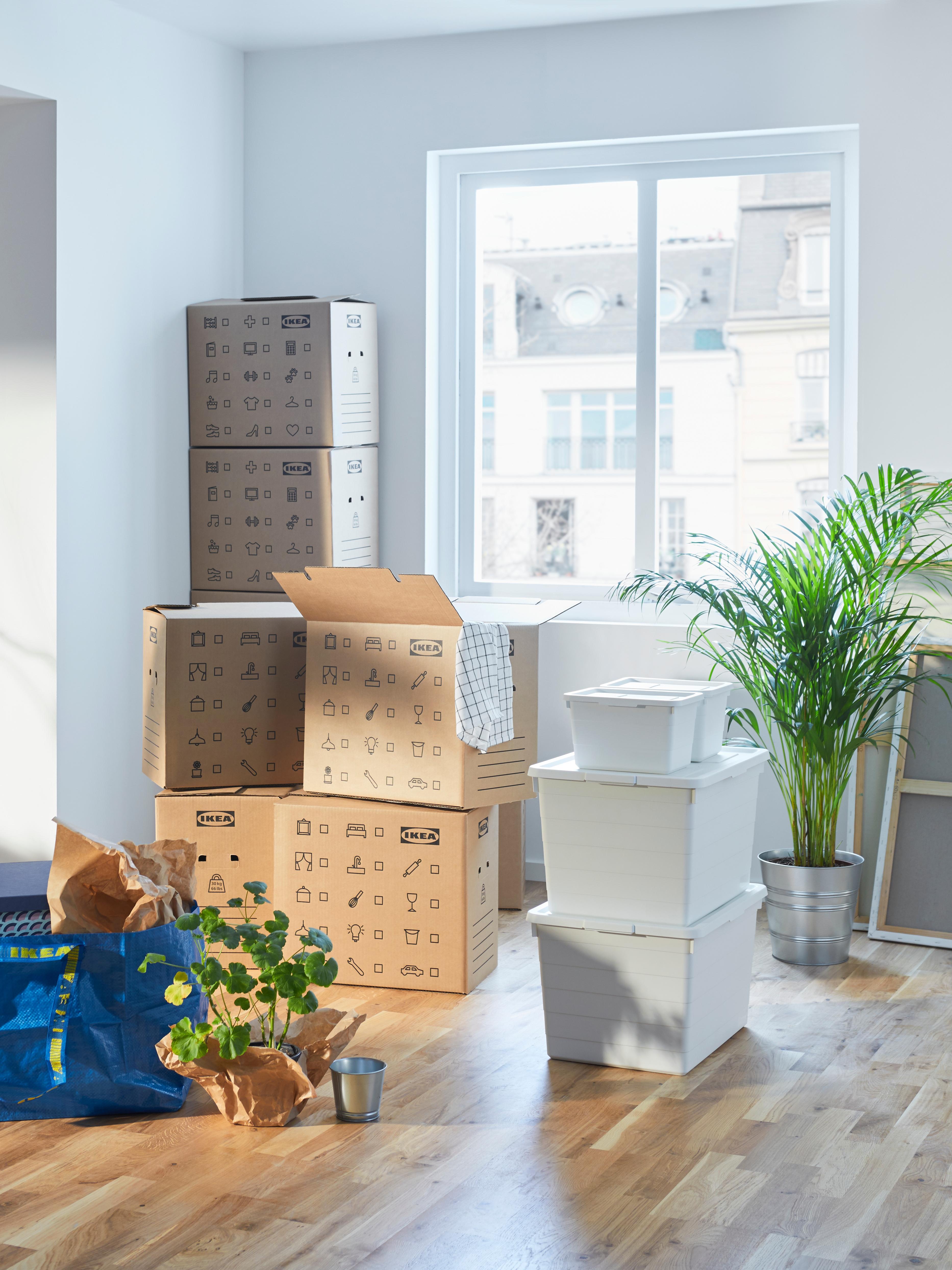 Pila di cartoni per trasloco DUNDERGUBBE nell'angolo di una stanza con finestra, insieme a contenitori SOCKERBIT, una borsa FRAKTA e piante.
