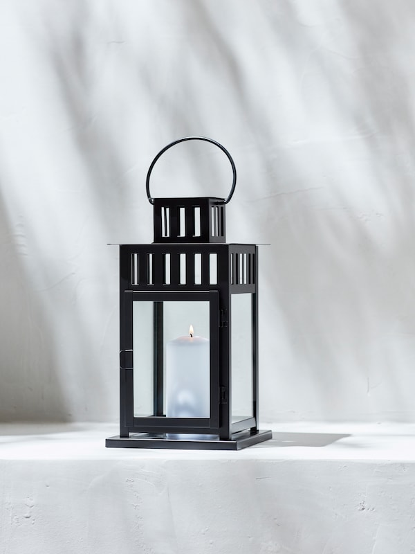"""BORRBY lantern for block candle for indoor or outdoor, in black colour,11 """" (28 cm)."""