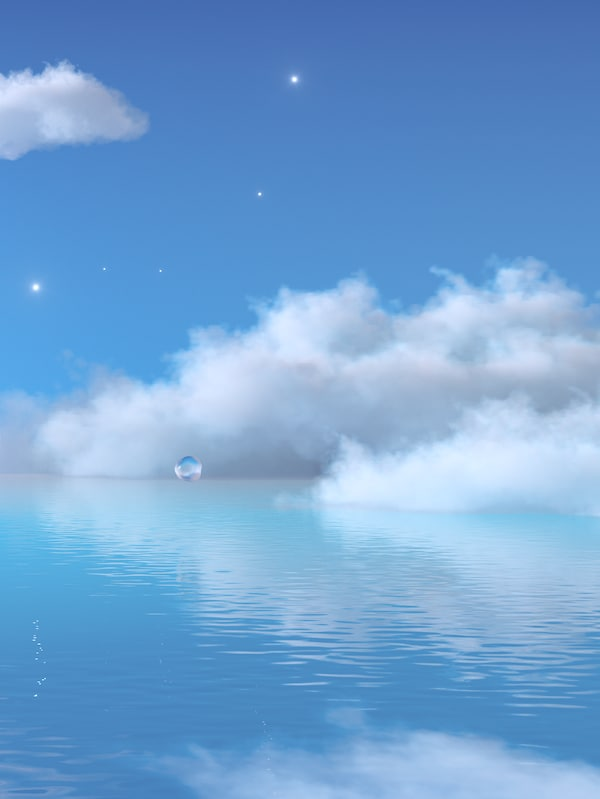 Stars and fluffy white clouds in the blue sky above a gently rippled sea of blue water.