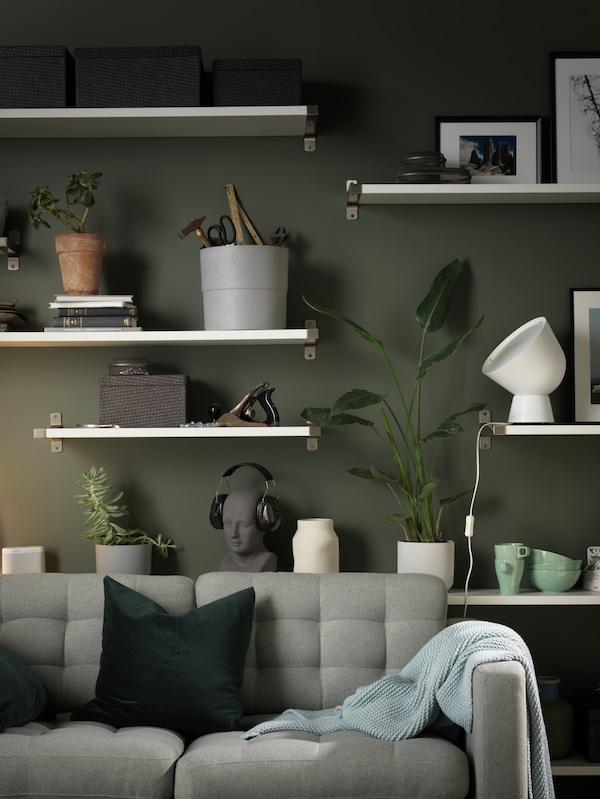 LANDSKRONA 2-seat sofa, Gunnared light green/wood