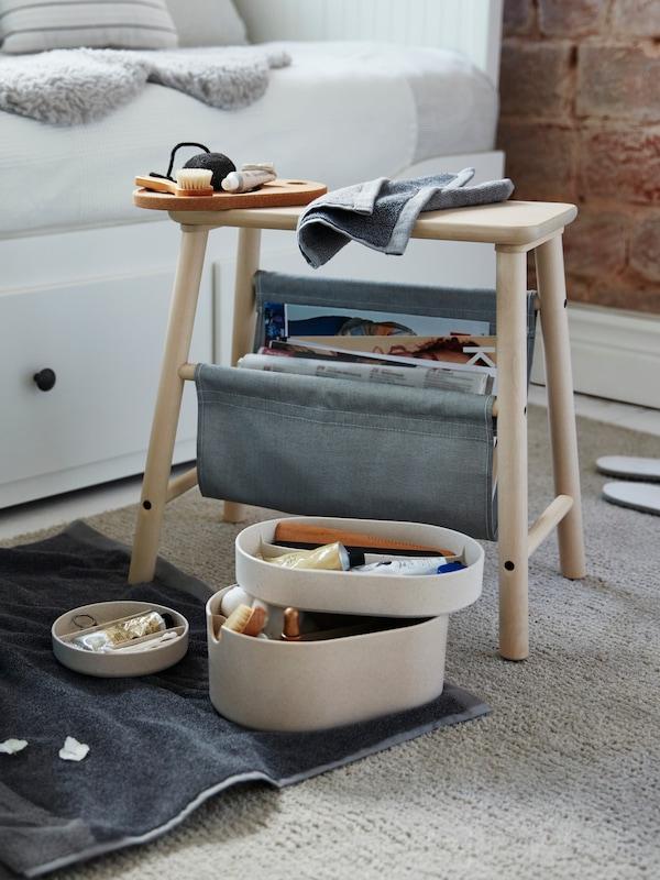 VILTO Sgabello con contenitore, betulla - IKEA