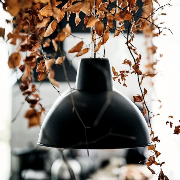 Een zwarte SKURUP hanglamp met daarboven decoratieve bruine herfstbladeren.
