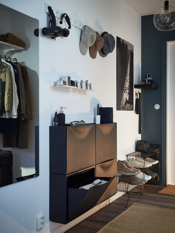 TRONES black shoe cabinet/storage.