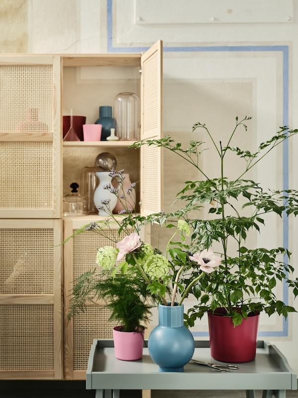 Les cache-pots et le vase colorés de la collection OMFÅNG remplis de plantes et de fleurs sur une table avec une armoire à l'arrière-plan.