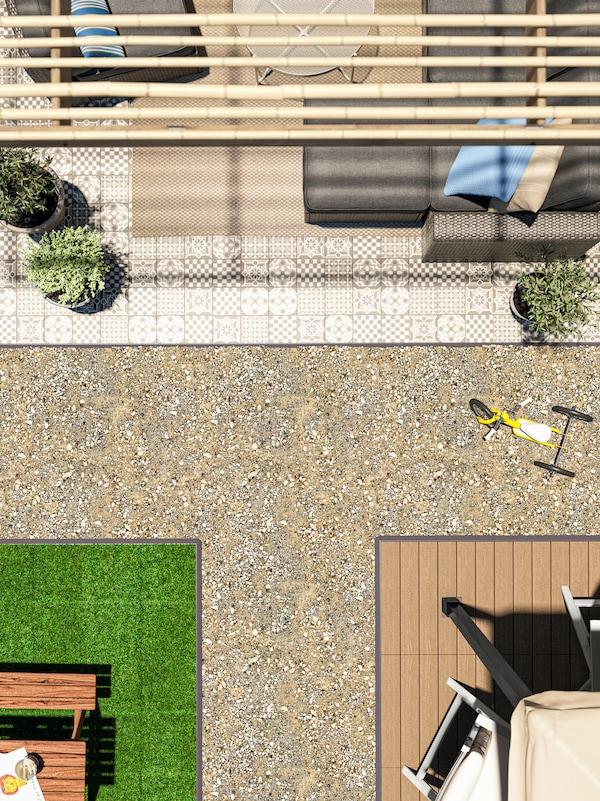 Verschiedene Bereiche eines Hinterhofes mit drei verschiedenen Bodenbelägen für den Aussenbereich.