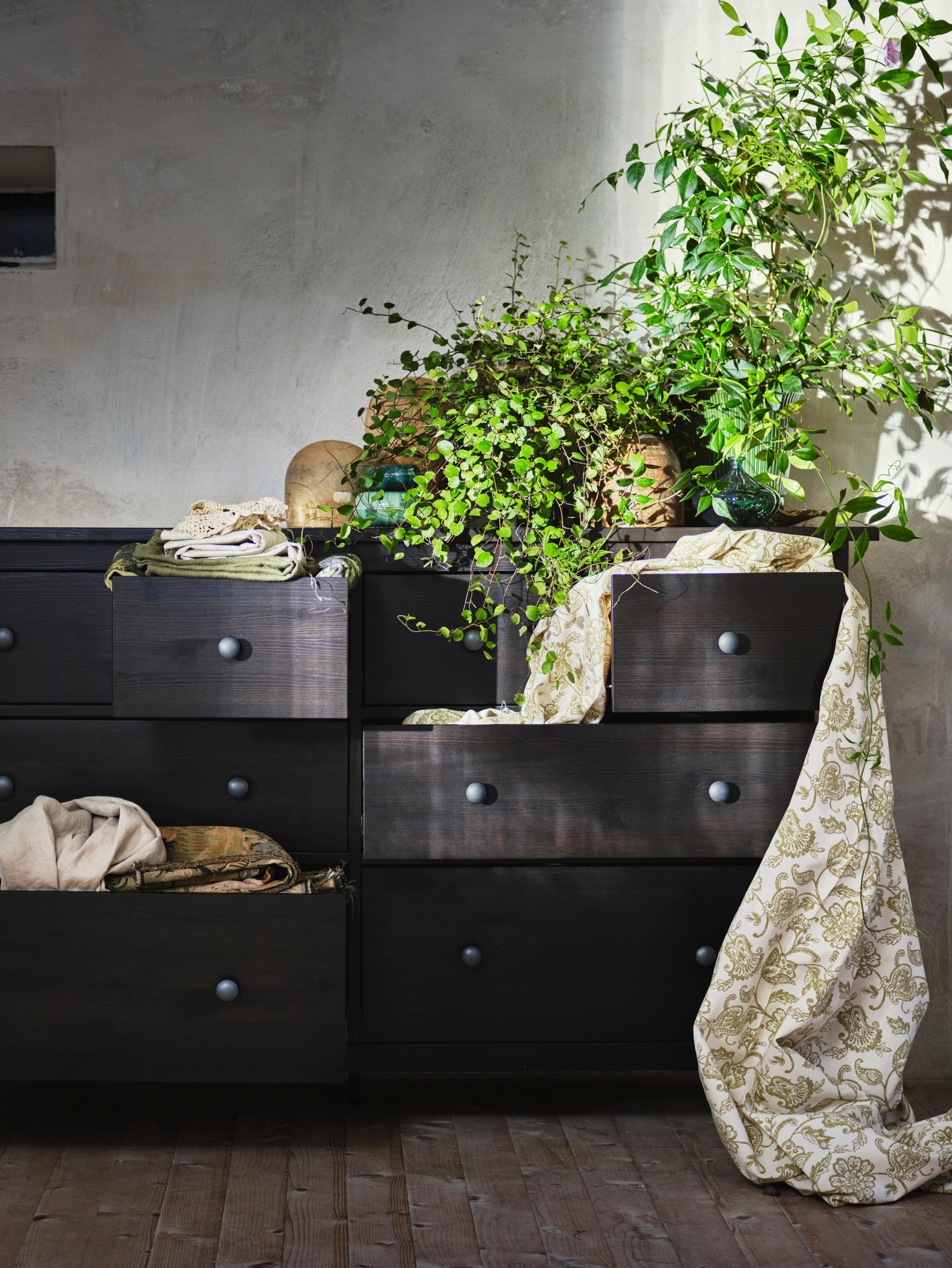Velika crno-smeđa HEMNES komoda s posteljinom koja visi iz nekih ladica i biljke na vrhu, uza zid.