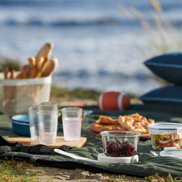 A picnic by the sea, with clear glasses and food containers placed on a green blanket.