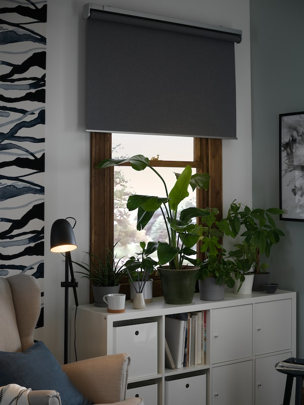 Grey FRYTUR block out roller blind at a window, partly rolled down, a number of potted plants in front.