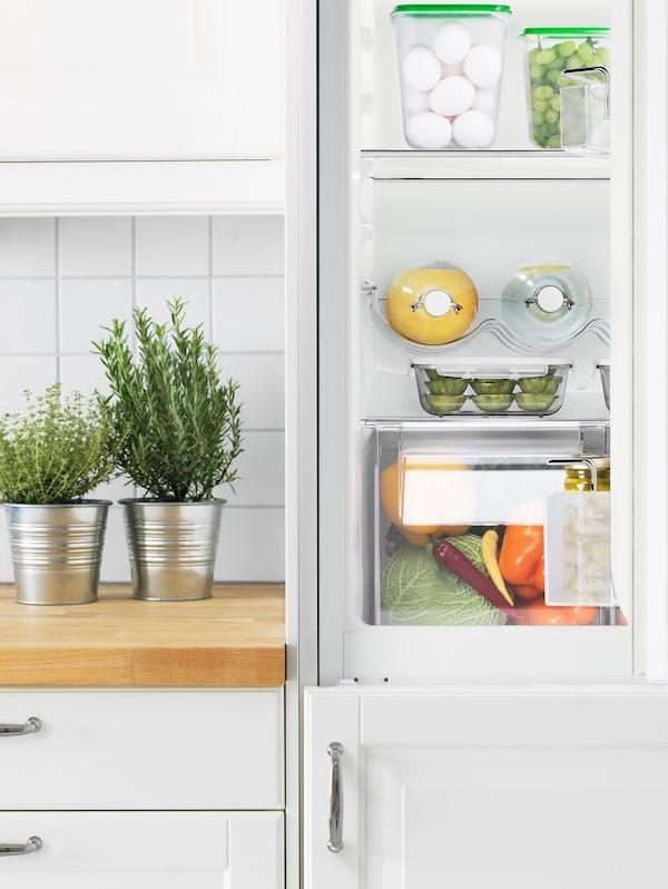 Un frigorífico/congelador ISANDE abierto que deja ver los estantes perfectamente ordenados. Al lado, hay dos ollas con hierbas en una encimera de madera.