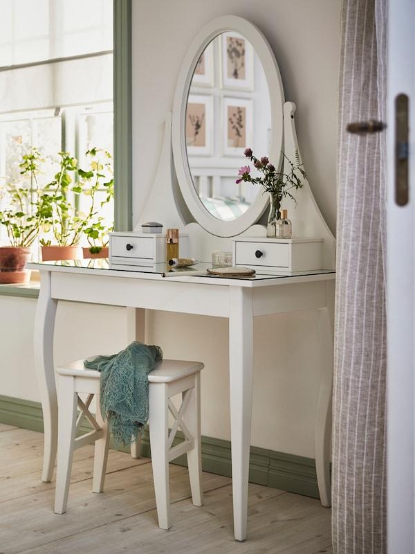Toucador HEMNES com espelho, com banco branco INGOLF.